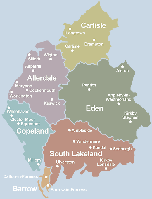 Map of Cumbria districts