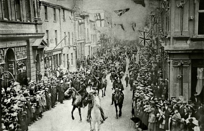 Procession along Tangier St/ Duke St, Whitehaven to celebrate George V`s coronation, 1911