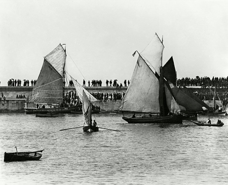 Sailing ships in Whitehaven harbour, 19th century